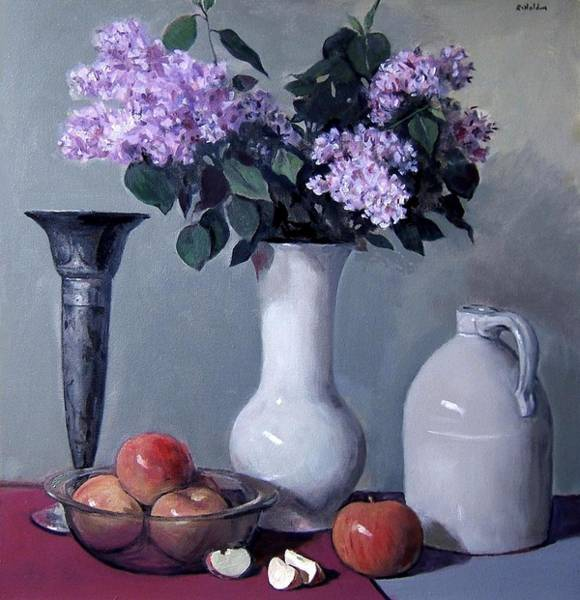 Apples And Lilacs, Silver Vase, Vintage Stoneware Jug Poster