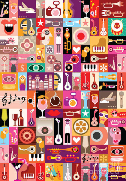 Art Collage, Musical Vector Poster