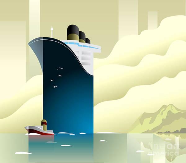 Art Deco Ship Vector Illustration Poster