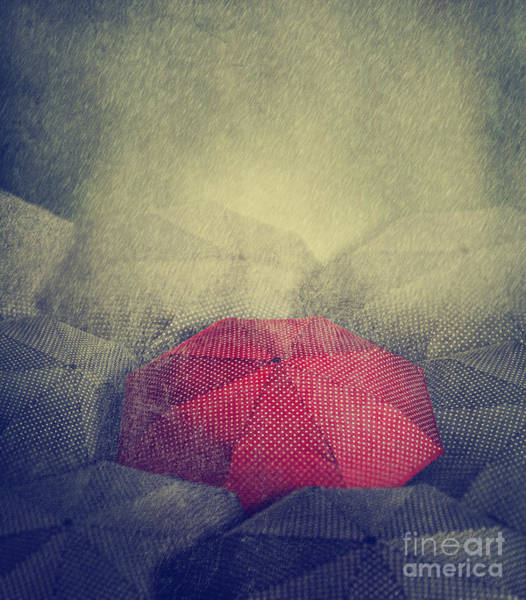 Artistic Image Of Red Umbrella Standing Poster