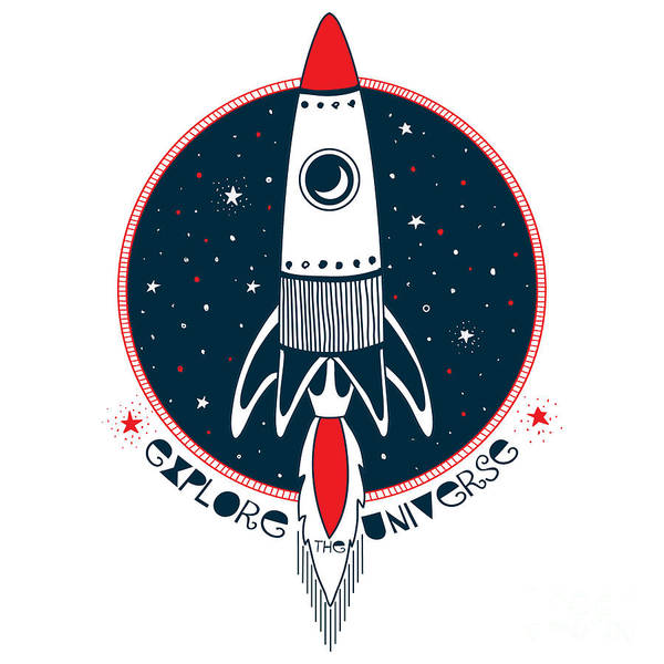 Astronaut Rocket In Outer Space , Kid Poster