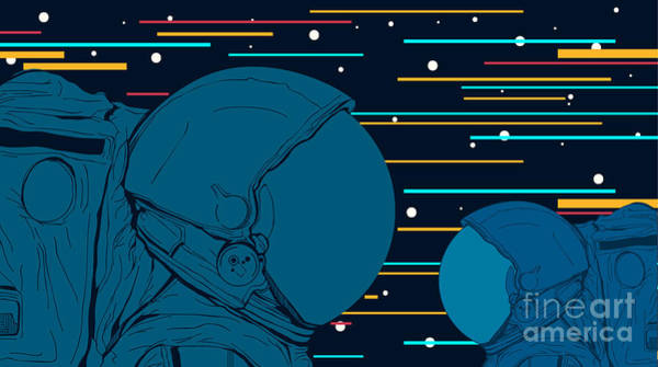 Astronauts In Space. Vector Poster