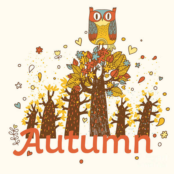 Autumn Childish Card In Vector. Cartoon Poster