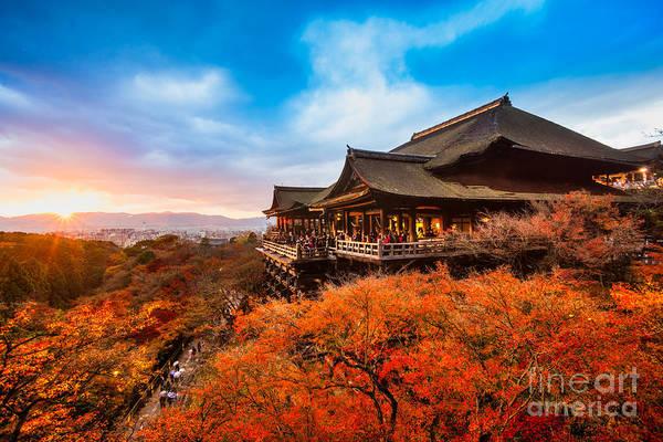 Autumn Color At Kiyomizu-dera Temple In Poster