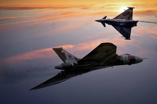Avro Vulcan Xh558 And Eurofighter Typhoon Gina. Poster