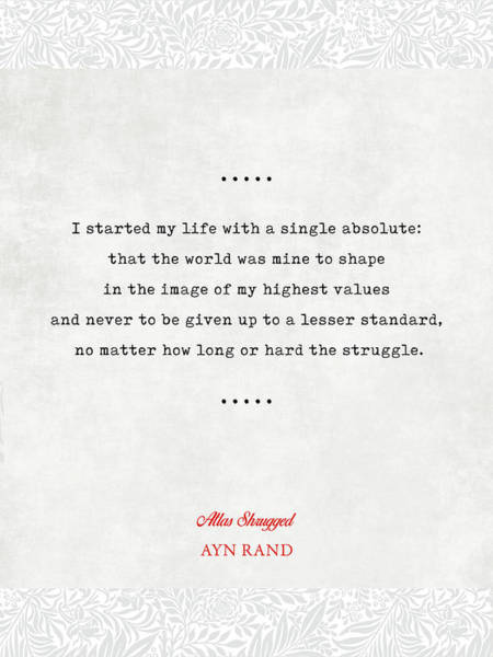 Ayn Rand Quotes 2 - Atlas Shrugged Quotes - Literary Quotes - Book Lover Gifts - Typewriter Quotes Poster