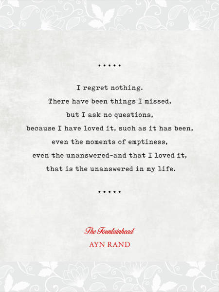 Ayn Rand Quotes 4 - The Fountainhead Quotes - Literary Quotes - Book Lover Gifts - Typewriter Quotes Poster