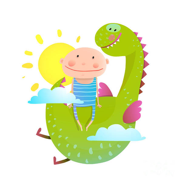 Baby And Dragon Cloud Sun Flying Happy Poster