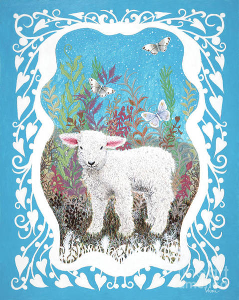 Baby Lamb With White Butterflies Poster