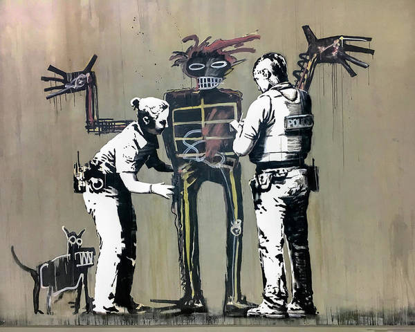 Poster featuring the photograph Banksy Coppers Pat Down by Gigi Ebert