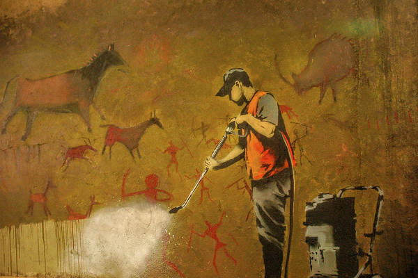 Poster featuring the photograph Banksy's Cave Painting Cleaner by Gigi Ebert