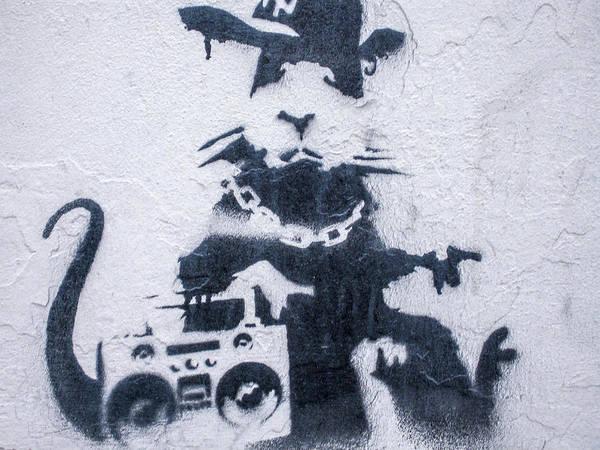 Poster featuring the photograph Banksy's Gansta Rat by Gigi Ebert