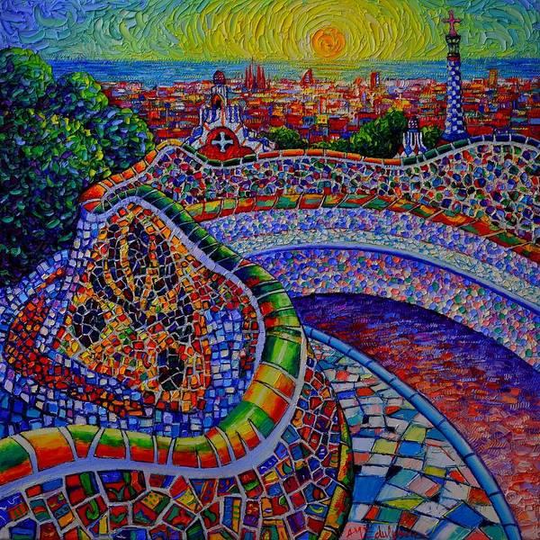 Barcelona Park Guell Sunrise Modern Impressionist Impasto Knife Oil Painting Ana Maria Edulescu Poster