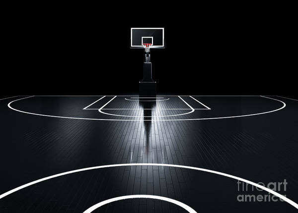 Basketball Court. Photorealistic 3d Poster
