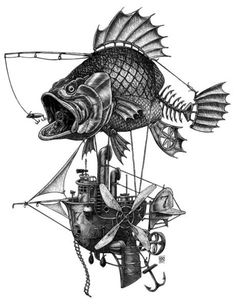 Poster featuring the drawing Bass Airship by Clint Hansen