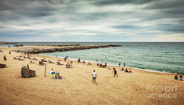 Beach And Sea During Cloudy Dark Summer Poster