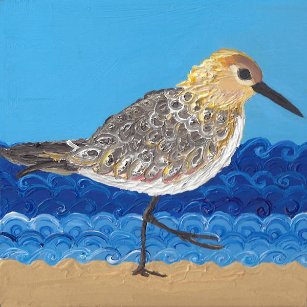 Poster featuring the painting Beach Bird  by Caroline Sainis