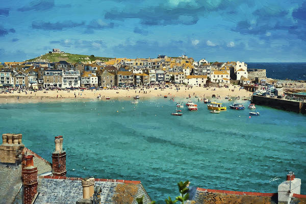 Beach From Across Bay St. Ives, Cornwall, England Poster