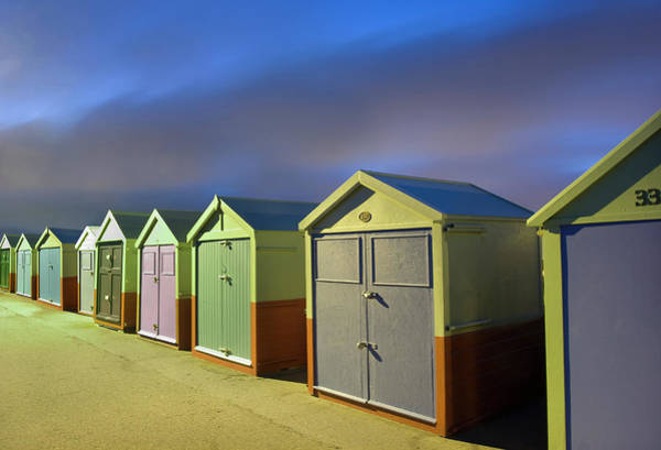 Beach Huts By Night Poster
