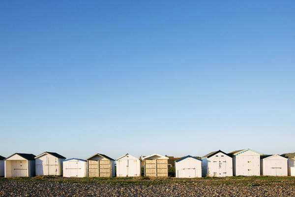 Beach Huts In A Row Poster