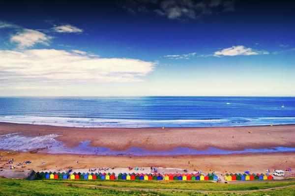 Beach Huts On Beach Poster
