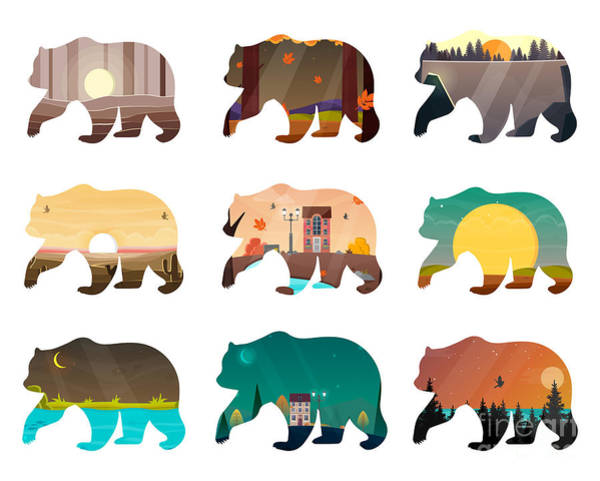 Bear Set. Nature Landscape Inside Poster