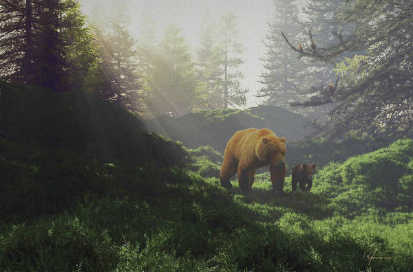 Bear Wwith Cub Poster