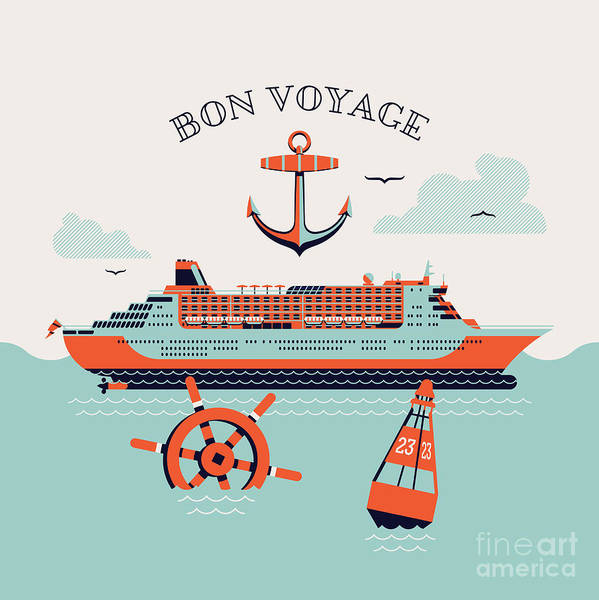 Beautiful Four Colored Bon Voyage Poster