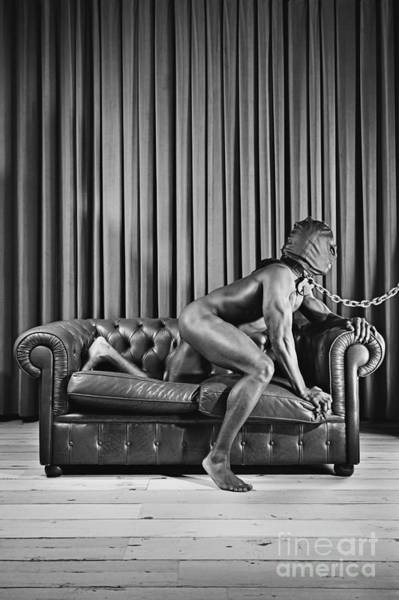 Beautiful Naked Man With Mask Posing On A Sofa Poster