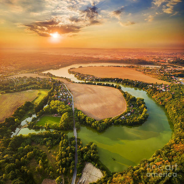 Beautiful Sunset Over Czech Valley Poster