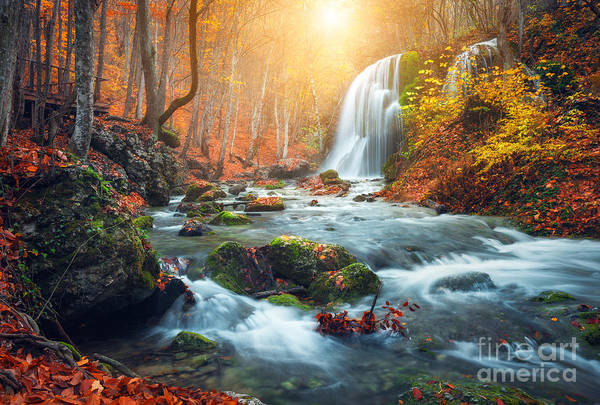 Beautiful Waterfall At Mountain River Poster