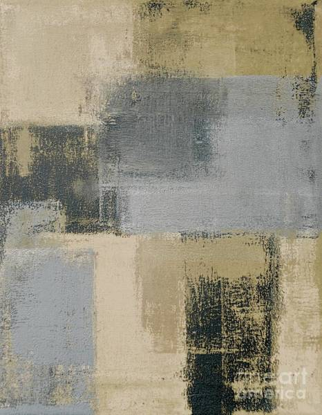 Beige And Grey Abstract Art Painting Poster