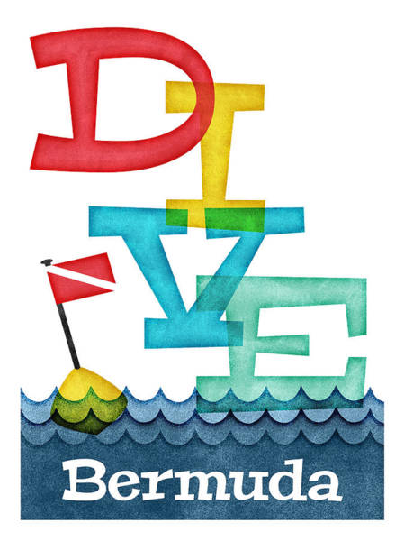 Bermuda Dive - Colorful Scuba Poster