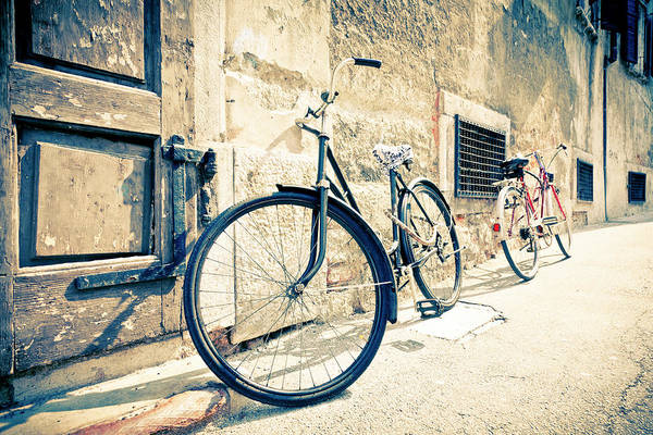 Bicycle Leaning Against Wall Poster