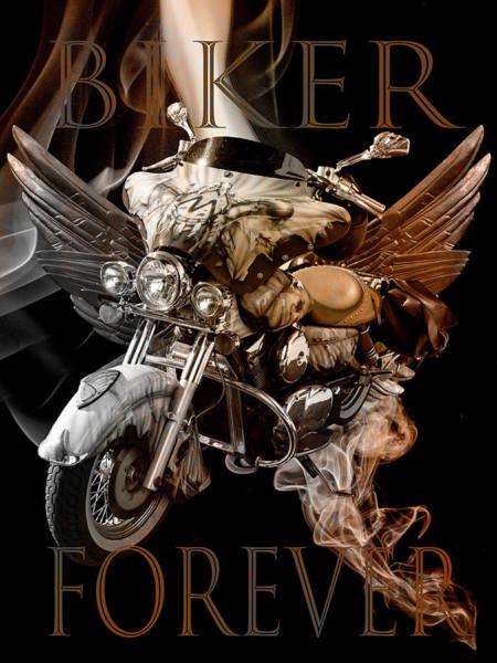 Biker Forever In Vintage Tones Poster