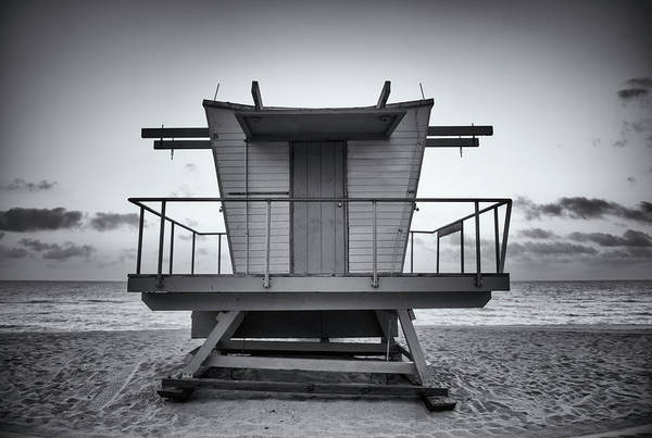 Black And White Lifeguard Stand In Poster