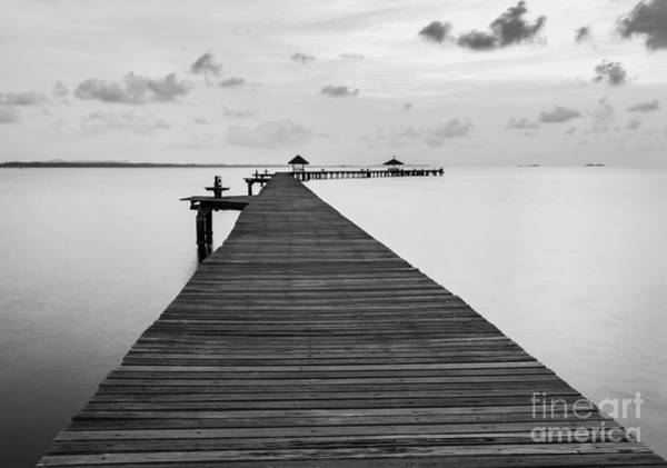 Black And White Of Bridge On Beach In Poster