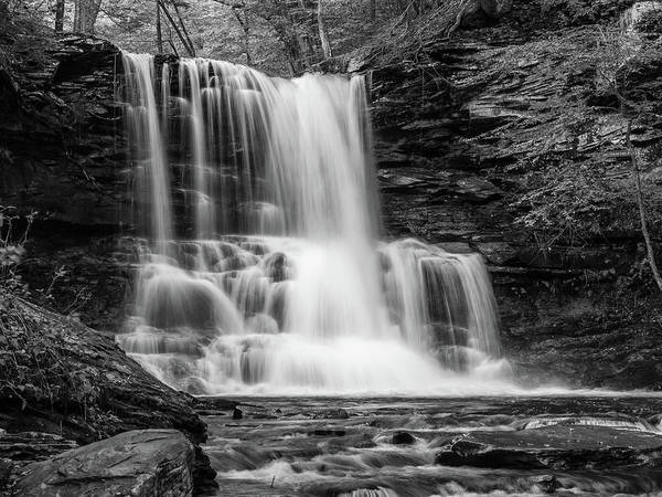 Black And White Photo Of Sheldon Reynolds Waterfalls Poster