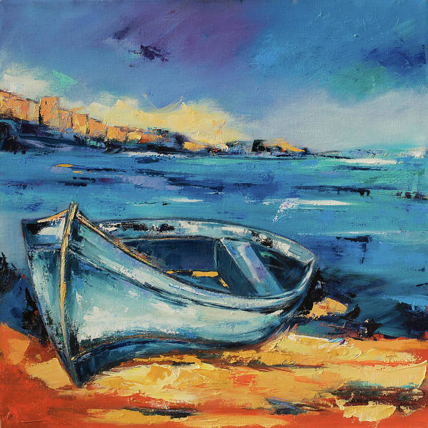 Blue Boat On The Mediterranean Beach Poster