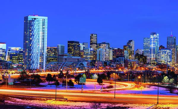 Blue Hour Over Denver Poster
