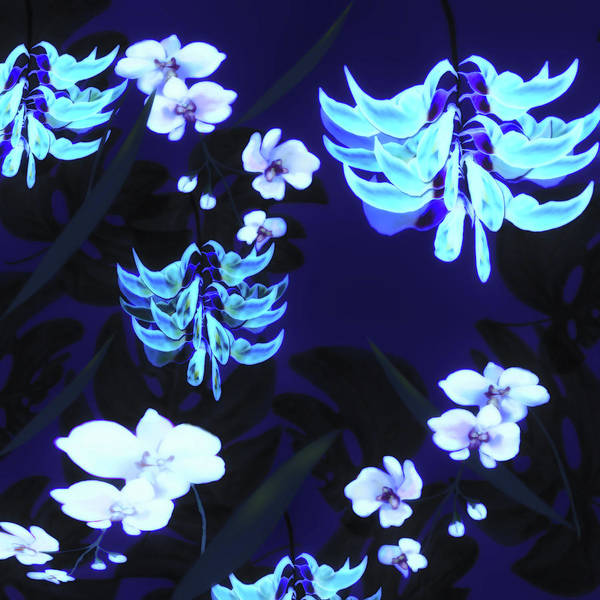 Blue Jungle Floral Poster