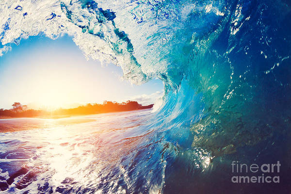 Blue Ocean Wave Crashing At Sunrise Poster