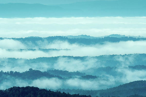 Blue Ridge Mountains Layers Upon Layers In Fog Poster