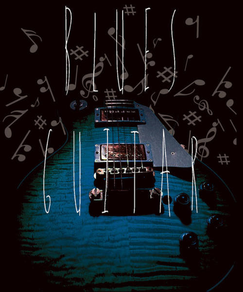 Blues Guitar Music Notes Poster