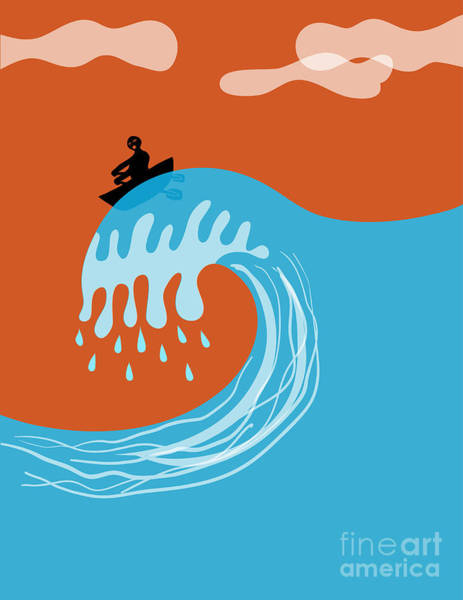 Boat On A Tsunami Wave Poster