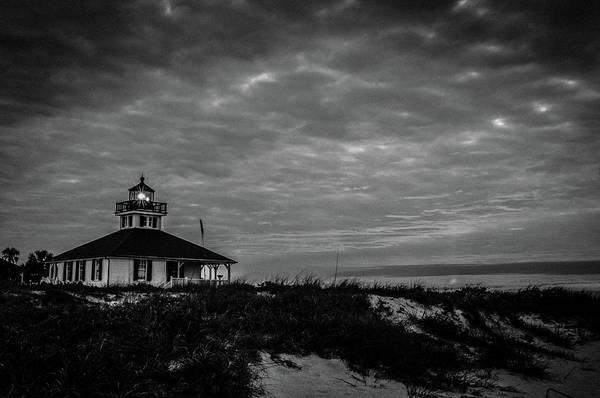 Boca Grande Lighthouse Black And White Poster