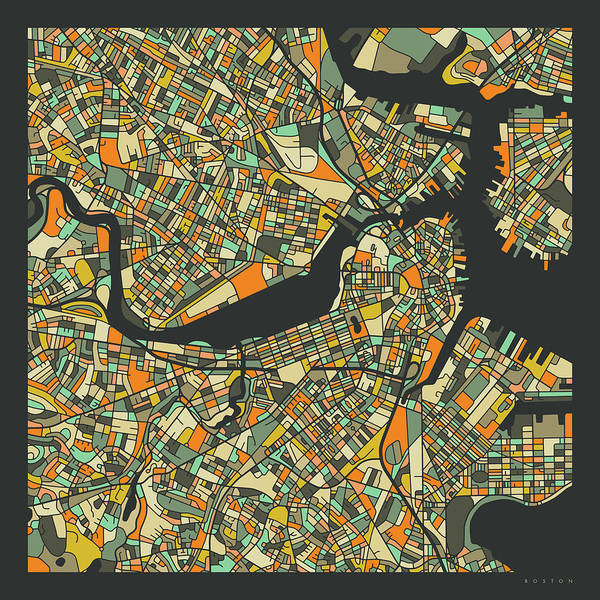 Boston Map 2 Poster