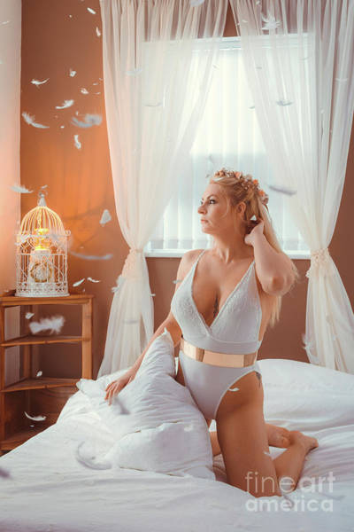 Boudoir Image With Floating Feathers Poster