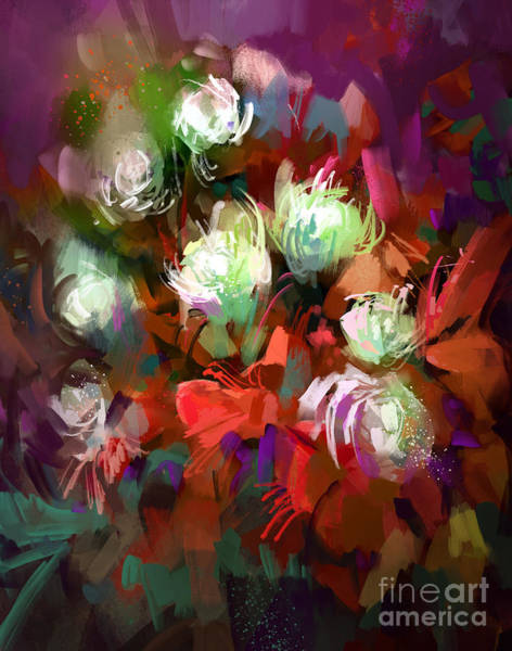 Bouquet Of Colorful Flowers,digital Poster