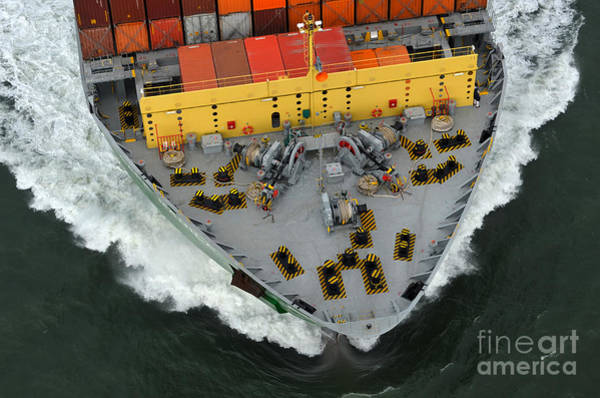 Bow Of Cargo Ship From Above Poster